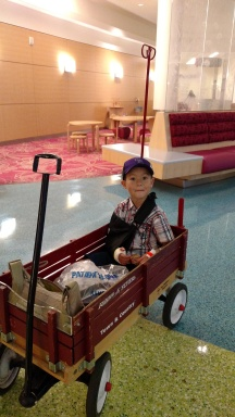 Released from recovery with this wagon the hospital thoughtfully provides